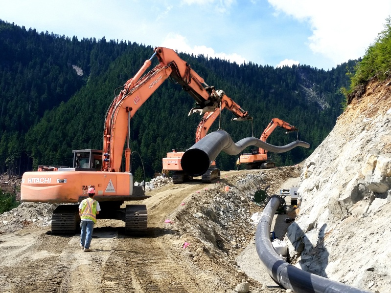 Located on Howe Sound about 45 km north of Vancouver, British Columbia. This run-of-river project, only accessible by water, includes three high elevation water intake diversions, collection of a number of small tributaries and over 9 km of HDPE and steel penstock.